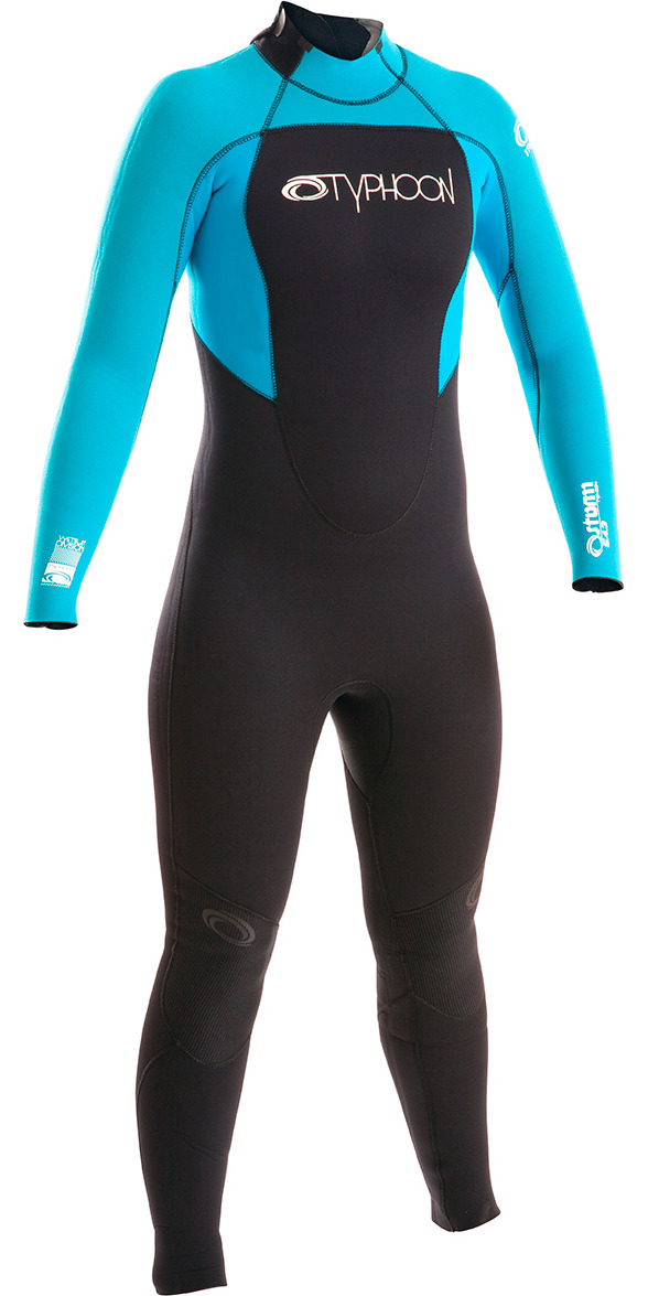 2015 Typhoon Girls Storm 5/4/3mm Wetsuit in Black/Turquoise 250606