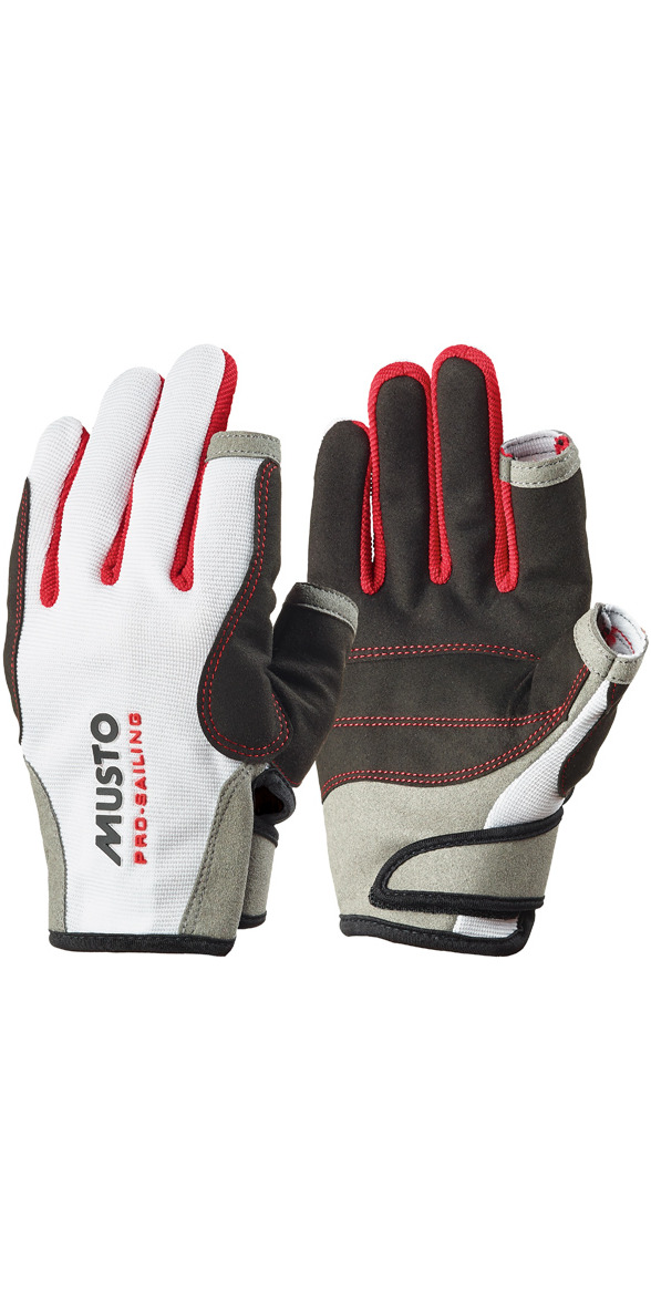**2015 Musto Essential Sailing Long Finger Gloves in White AS0803