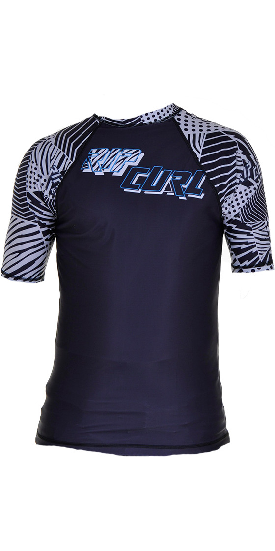 Rip Curl Core Short Sleeved Low Collar  Rash Vest in Black/White Detail W9343M