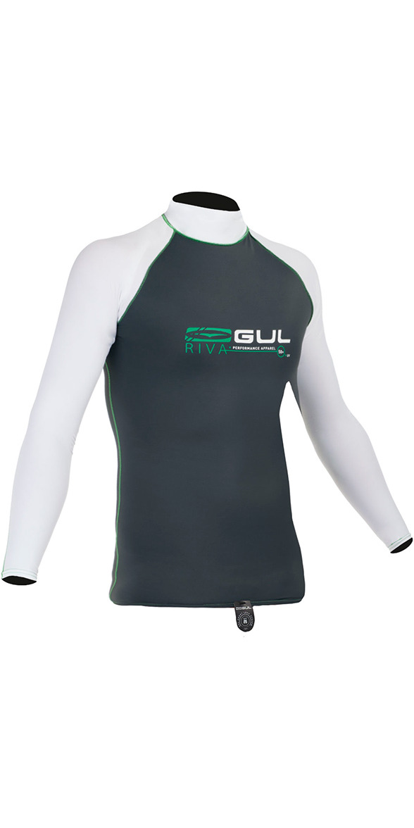 **2015 Gul Riva Long Sleeved Rash Vest in Gunmetal/WHITE RG0337