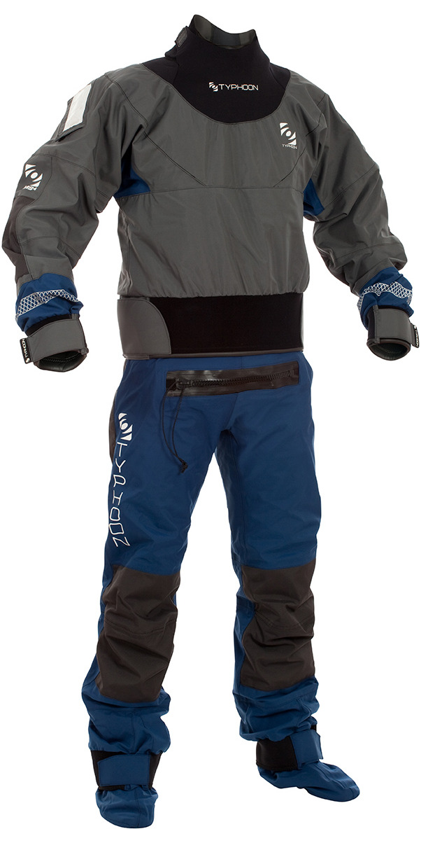 2016 Typhoon Multisport 4 Four LATEX SEAL Drysuit +Con Zip Inc FLEECE GREY/NAVY 100140