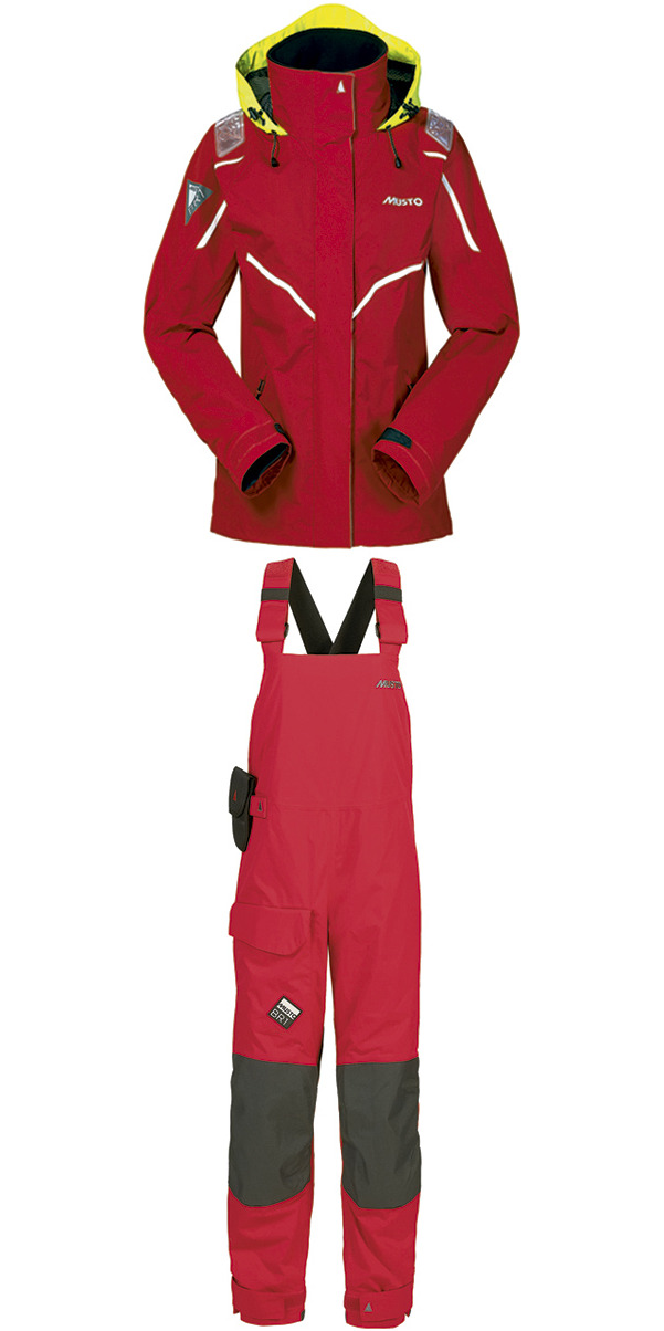 2015 Musto LADIES BR1 Inshore Jacket SB122W7 & Trouser SB123W4 Combi Set RED