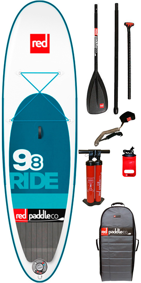 2015 Red Paddle Co 9'8 Ride Inflatable Stand Up Paddle Board + Bag, Pump, Paddle & LEASH
