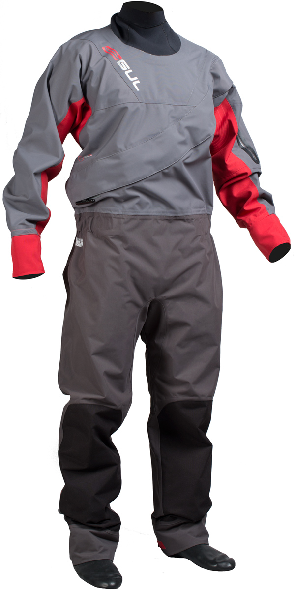 2016 Gul Dartmouth Eclip Zip Drysuit CHARCOAL/RED + UNDERFLEECE GM0378