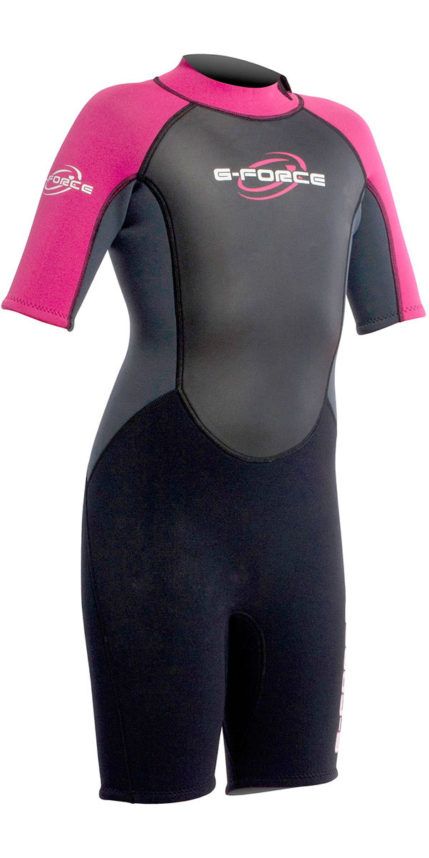 2015 Gul G-Force Junior Shorty 3/2mm Wetsuit in Black/Pink GF3308