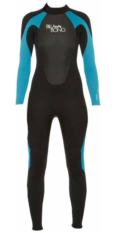 2015 Billabong Ladies Launch 3/2mm GBS Wetsuit in Black/Turquoise BLUE O43G01