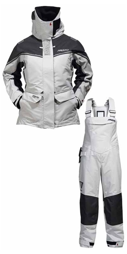 2013 Musto MPX Ladies Offshore COMBI SET Jacket SM151W2 & Trouser SM150W6 in PLATINUM New 2013