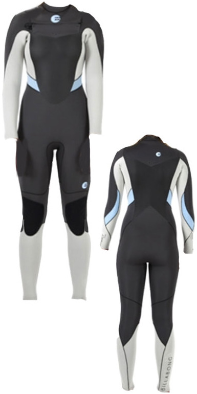 2014 Billabong Synergy LADIES 4/3mm CHEST ZIP Wetsuit in Wash Black/Sandy toes N44G03