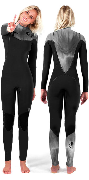 2014 Billabong LADIES Xero Revolution 5/4mm CHEST ZIP Wetsuit in Black/Black Wash N45G02