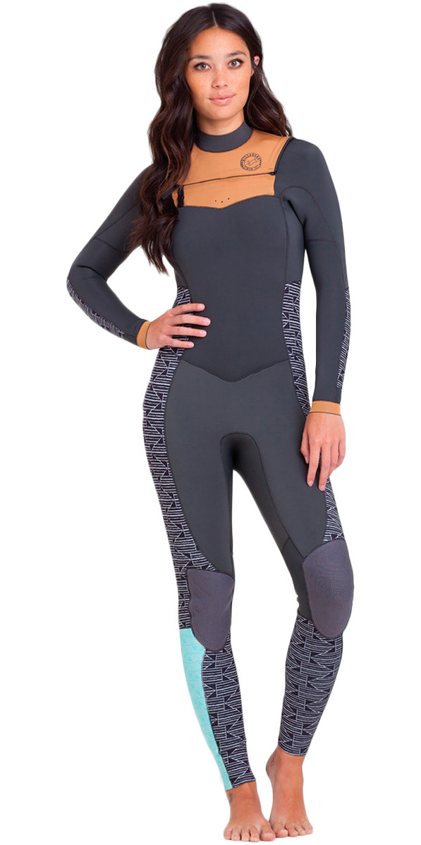 2015 Billabong Ladies Salty Days 3/2mm GBS Chest Zip Wetsuit  - Black/White S43G04