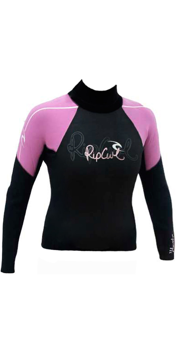 Rip Curl Classic Ladies Long Sleeve Hotskin 0.5mm Vest W8266W Black/Pink