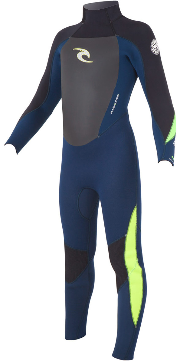 2015 Rip Curl Junior Dawn Patrol 4/3mm GBS Steamer Wetsuit Back Zip Navy WSM4BB