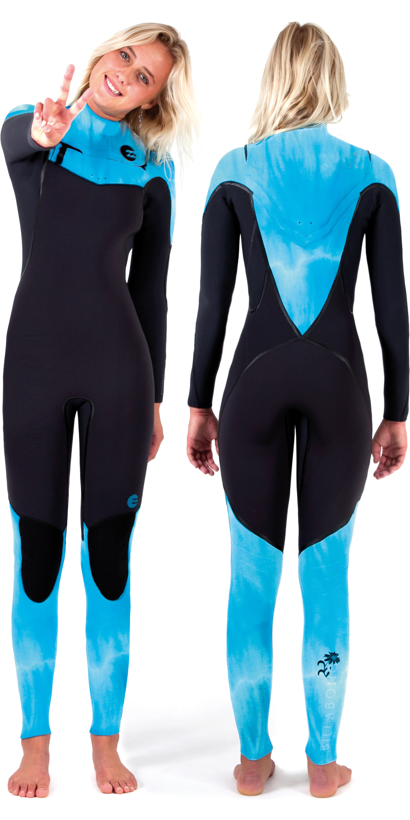 2014 Billabong Ladies Xero Revolution 4/3mm Chest Zip Wetsuit BLACK/BLUE WASH N44G02