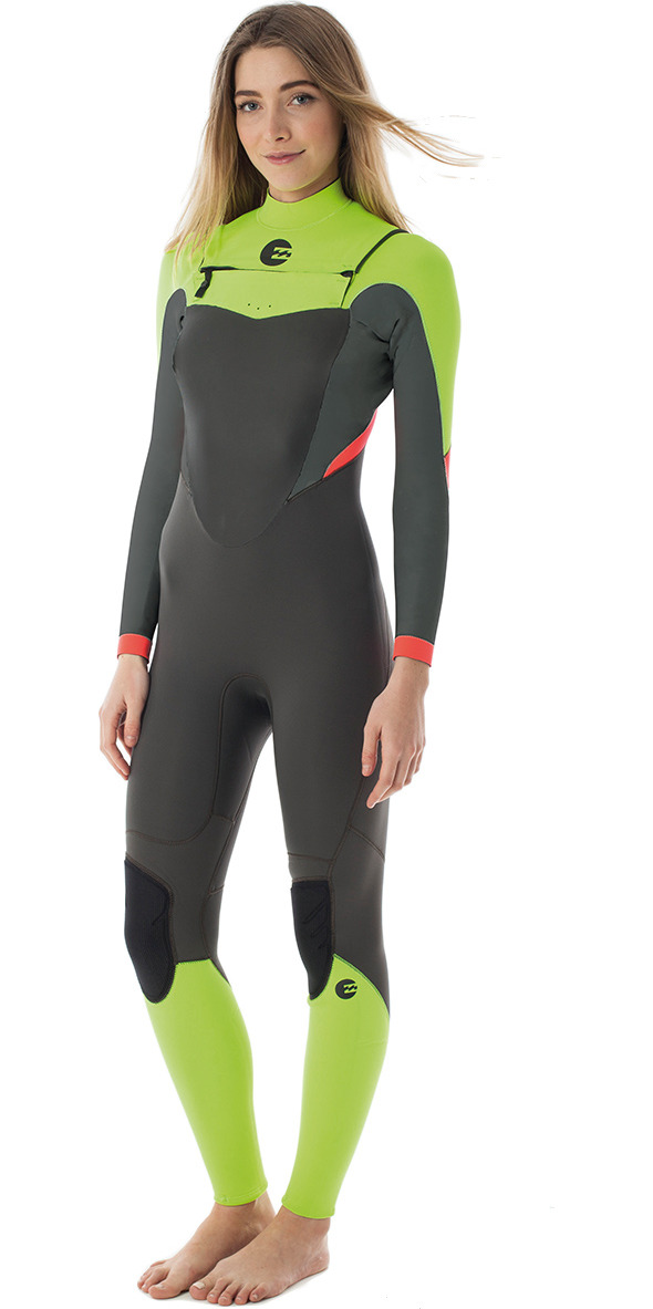 **2015 Billabong Synergy Steamer Chest Zip 4/3mm Wetsuit in Lime Q44G01 - 2ND