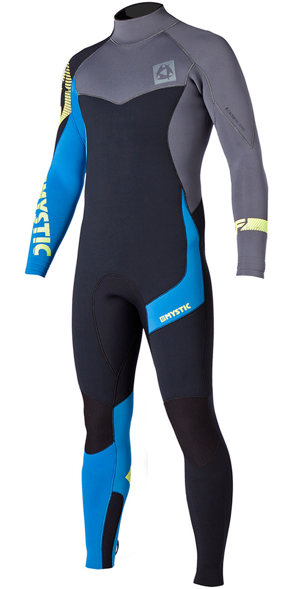 2015 Mystic Crossfire 5/4 GBS Back Zip Wetsuit Black/Blue/Grey 150040 - USED ONCE