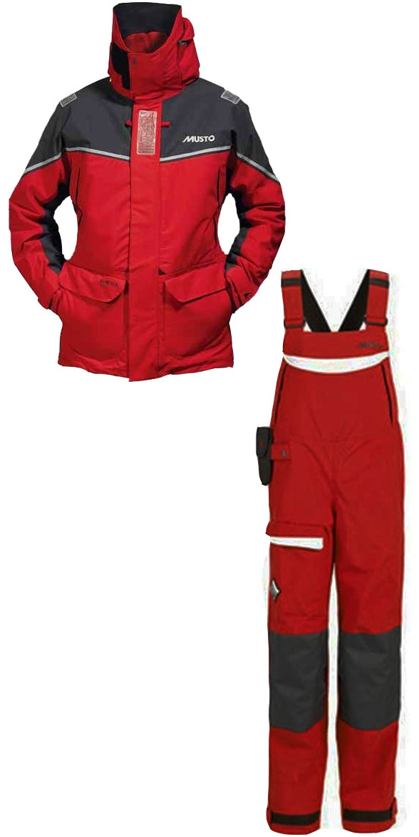2013 Musto MPX Offshore Ladies Jacket SM151W2  + MUSTO BR2 OFFSHORE Dropseat TROUSER SB004W1 RED