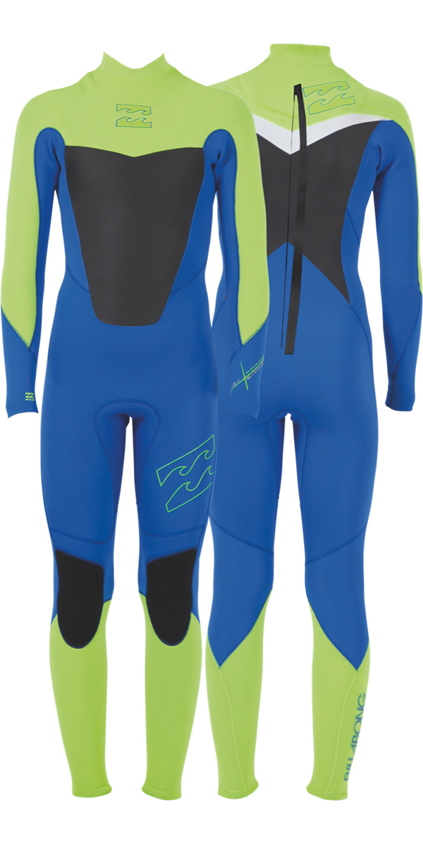 2014 Billabong Foil TODDLER 3/2mm Back Zip GBS Wetsuit in Ocean Blue/Lime/WHITE P43B03