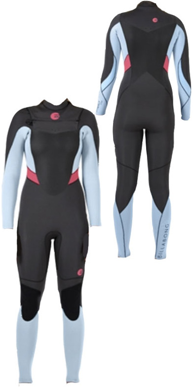 2014 Billabong Synergy LADIES 4/3mm CHEST ZIP Wetsuit in Wash Black/Ice Blue/Coral Kiss N44G03