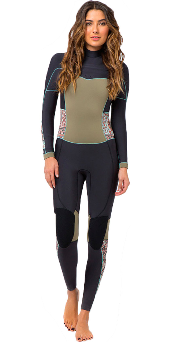 2015 BILLABONG LADIES 4/3MM SALTY DAYZ CHEST ZIP GBS WETSUIT Off Black/MULTI Q44G03