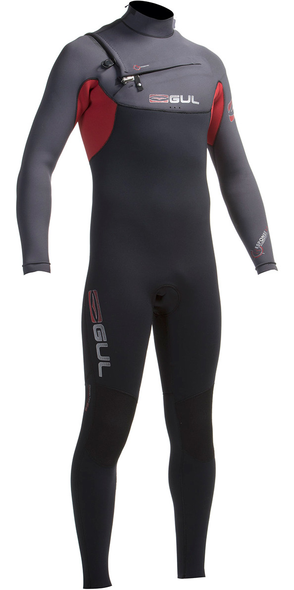 2016 Gul Response 5/3mm Chest Zip GBS Wetsuit Black/Cardinal RE1242