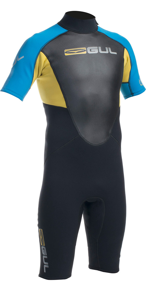 2015 Gul Response 3/2mm Mens Shorty Wetsuit in Black/Blue/Yellow RE3319