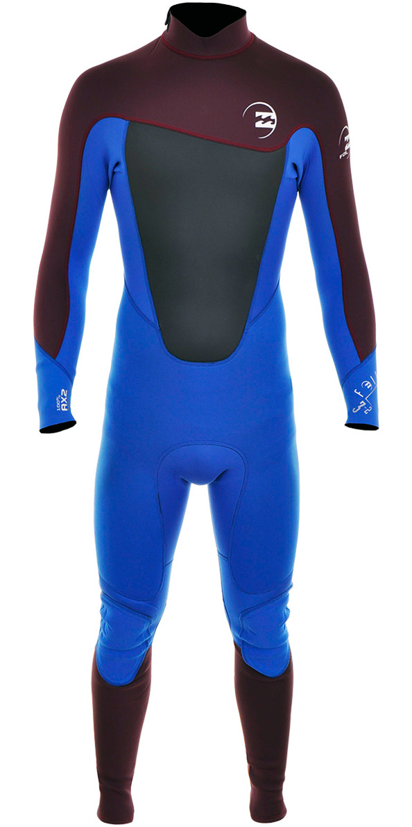2015 Billabong Foil 3/2mm BACK ZIP Steamer Wetsuit Blue/Blood S43M01 - 2ND