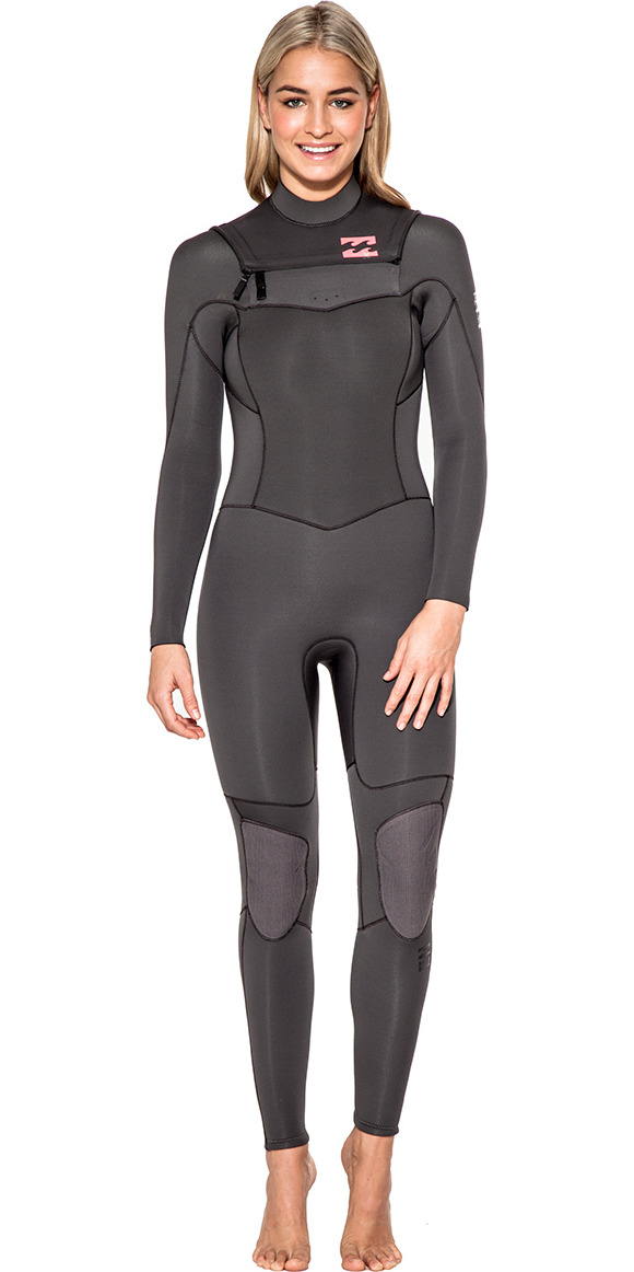 2015/16 Billabong Ladies Synergy 4/3mm Chest Zip Wetsuit Off Black U44G03