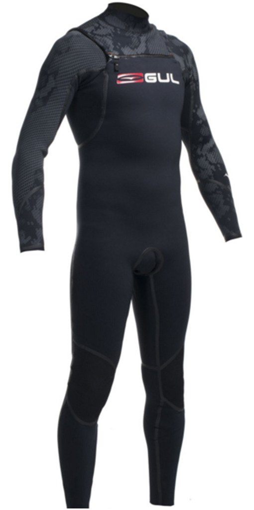 Gul Viper 4/3mm GBS Chest Zip Steamer Wetsuit in Black VR1234