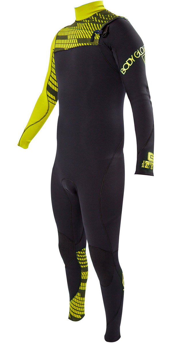 *2014 Bodyglove CT 3/2mm GBS Chest Zip Wetsuit YELLOW 620224