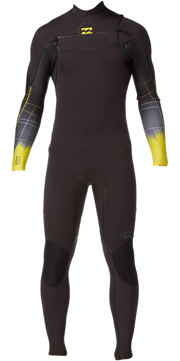 *2014 Billabong Xero Revolution 5/4mm CHEST ZIP Wetsuit in Black/Lime N45M05