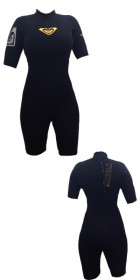 Roxy Cell 2mm Ladies Shorty Wetsuit in Black/Yellow Detail