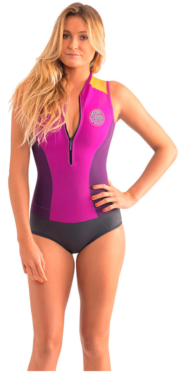 **2015 Rip Curl Cap Sleeve 1mm Sleeveless Spring Shorty Purple WSP4HW